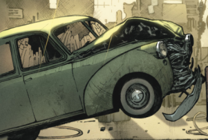 The wrecked car after Action Comics #1 -1938. Property of DC Comics